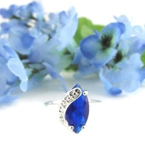 Jewelry - Blue CZ Marquise Cut Silver Ring Sizes 9 | 9.25